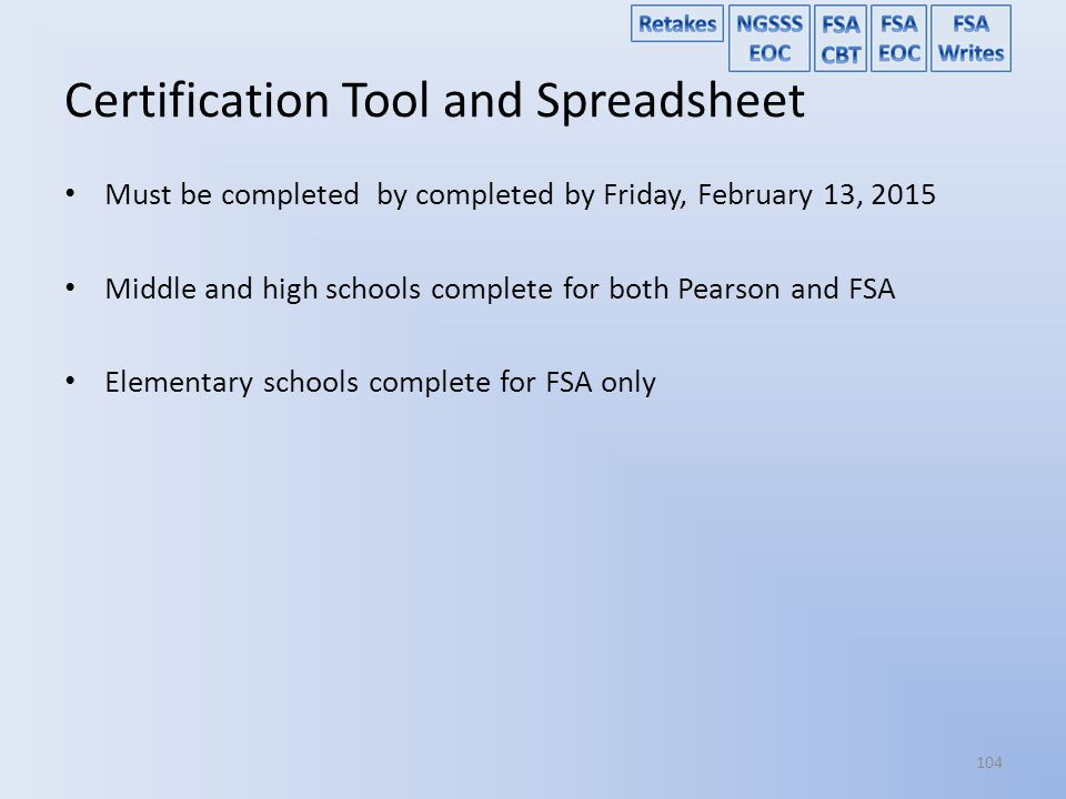 Certification Tool and Spreadsheet