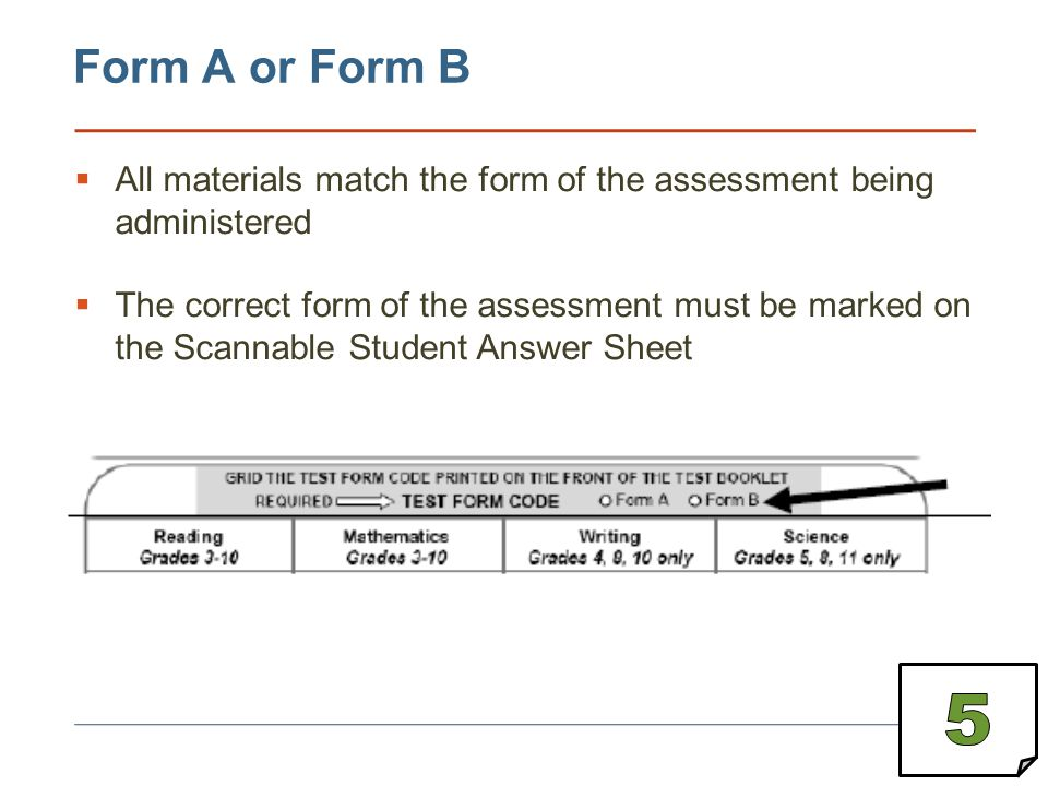 Measured Progress © 2013 Form A or Form B. All materials match the form of the assessment being administered.