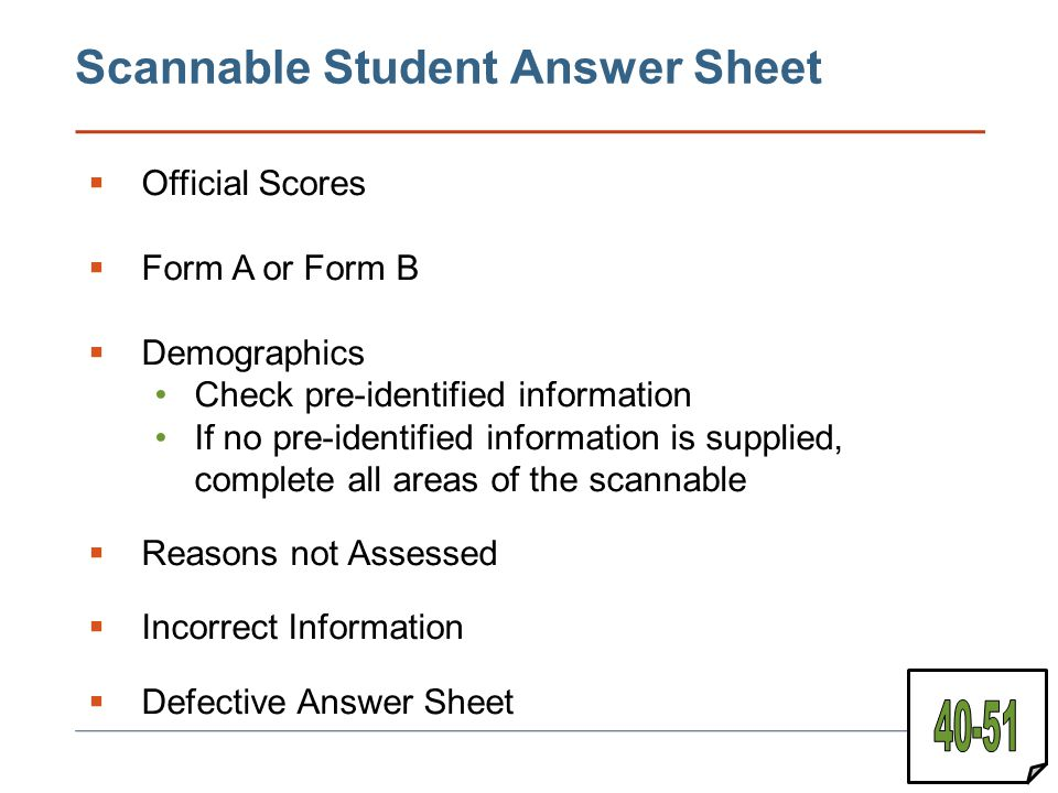 Scannable Student Answer Sheet