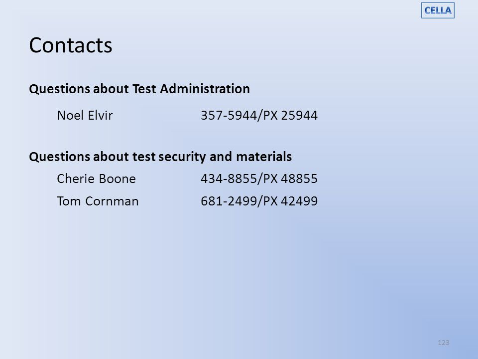 Contacts Questions about Test Administration Noel Elvir