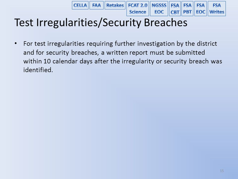 Test Irregularities/Security Breaches