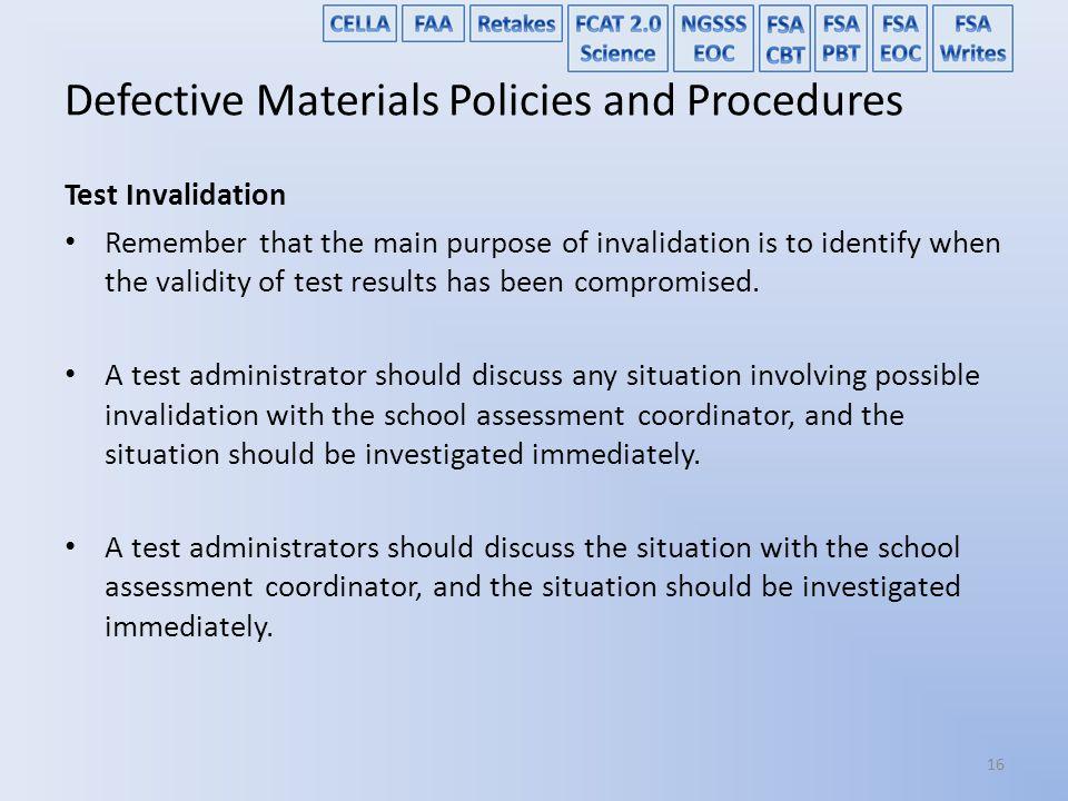 Defective Materials Policies and Procedures