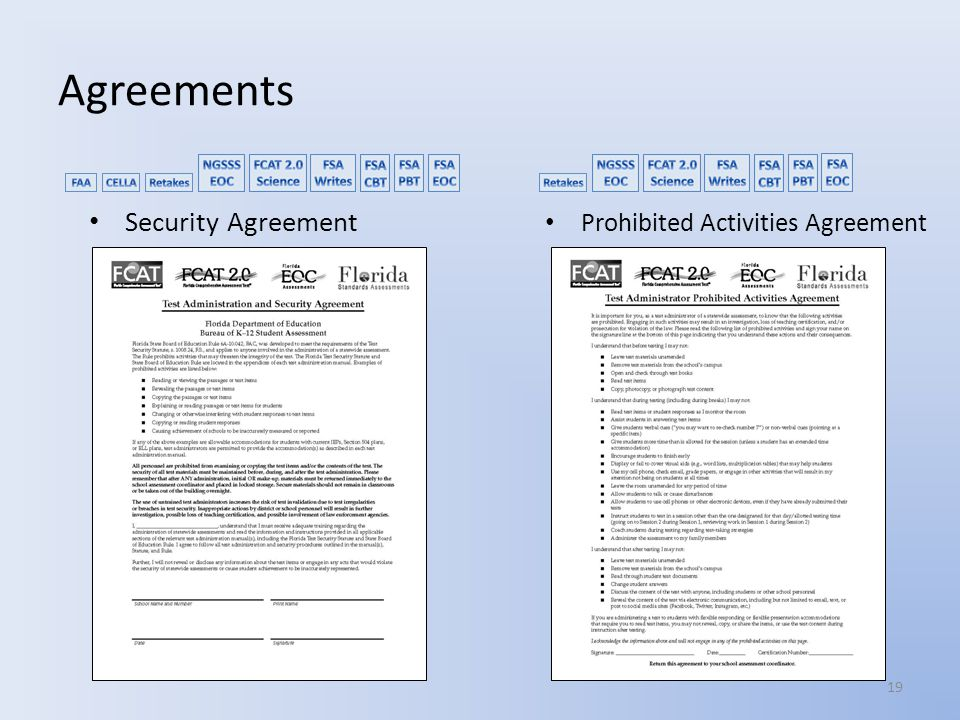 Agreements Security Agreement Prohibited Activities Agreement