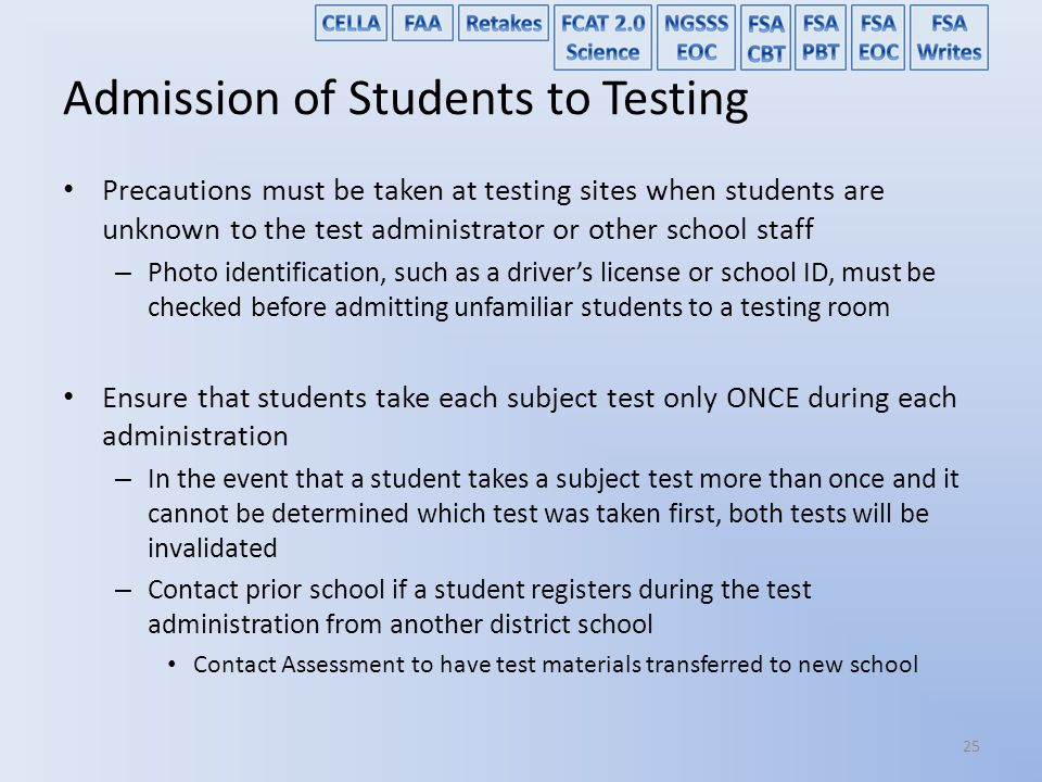 Admission of Students to Testing