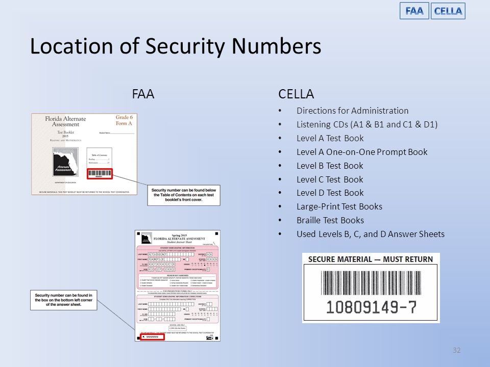 Location of Security Numbers