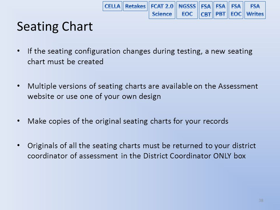 Seating Chart If the seating configuration changes during testing, a new seating chart must be created.