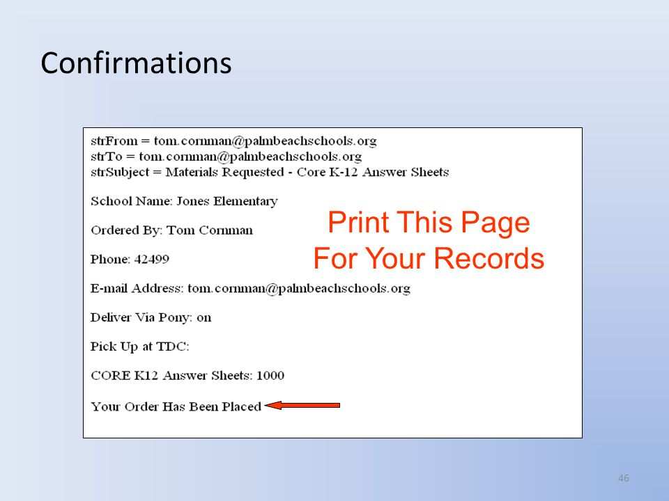 Confirmations Print This Page For Your Records