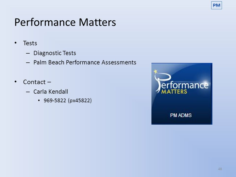 Performance Matters Tests Contact – Diagnostic Tests