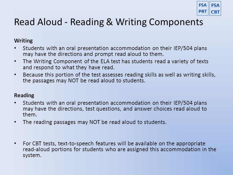 Read Aloud - Reading & Writing Components