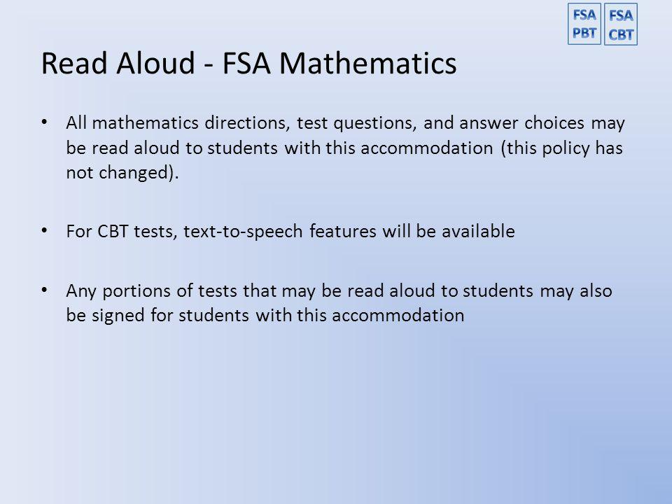 Read Aloud - FSA Mathematics