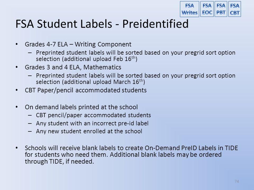 FSA Student Labels - Preidentified