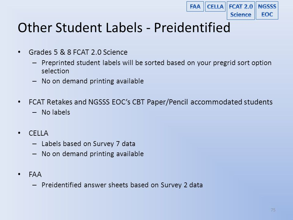 Other Student Labels - Preidentified
