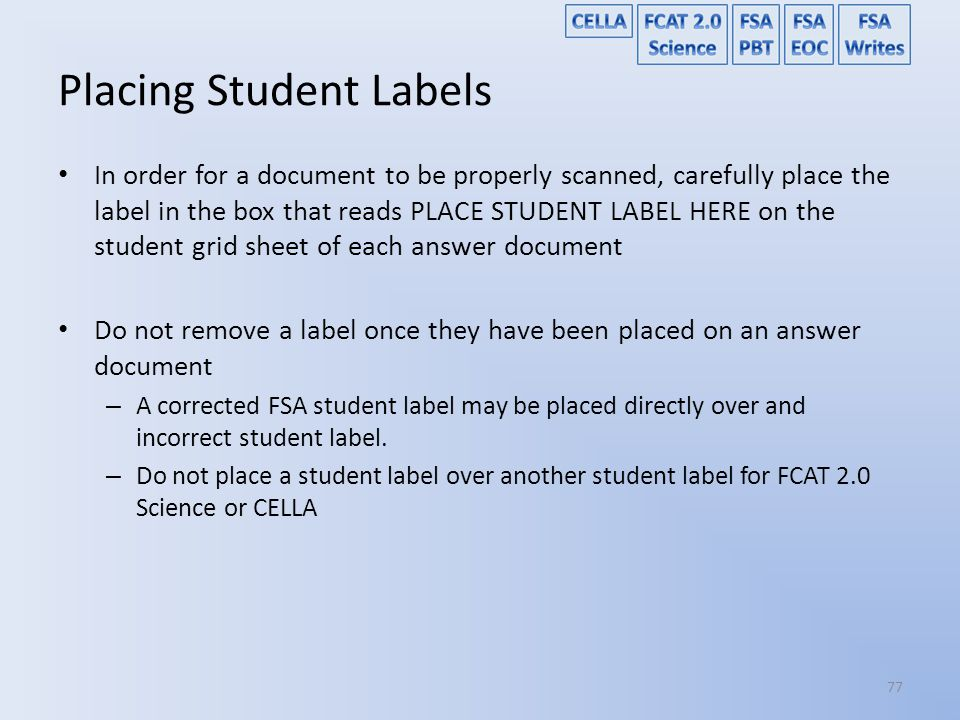 Placing Student Labels