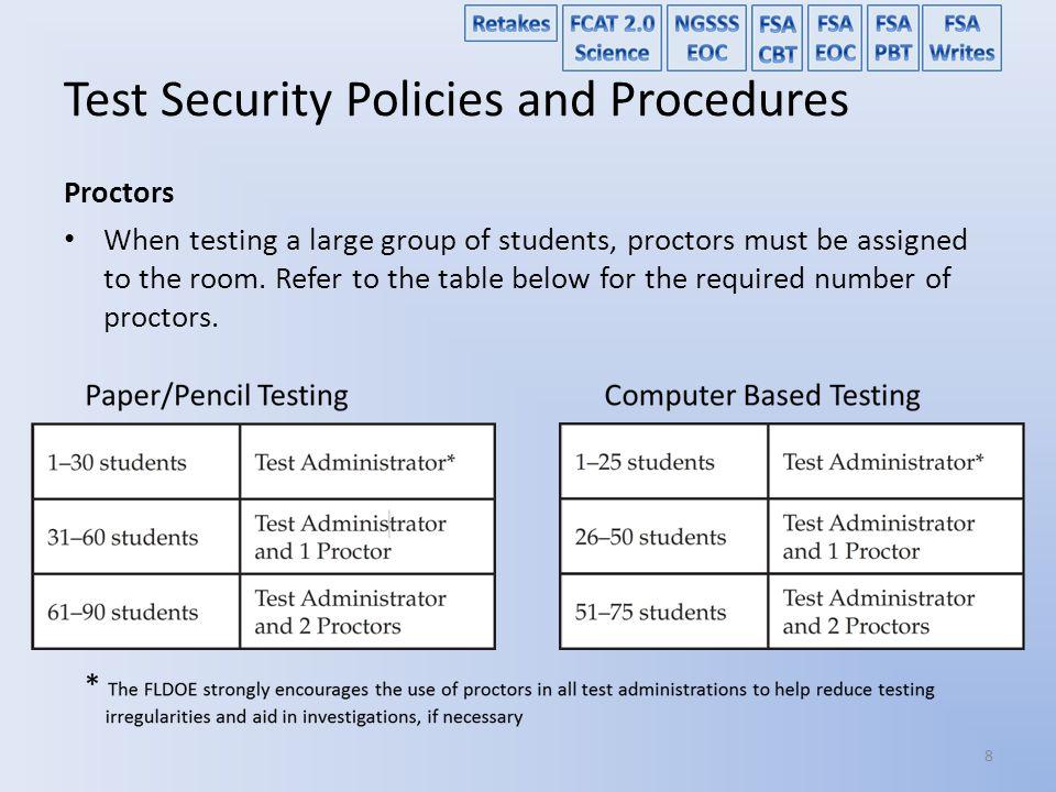 Test Security Policies and Procedures