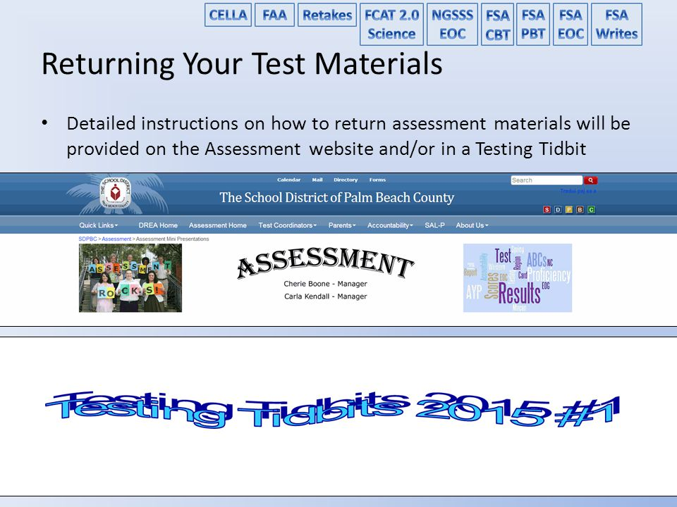 Returning Your Test Materials