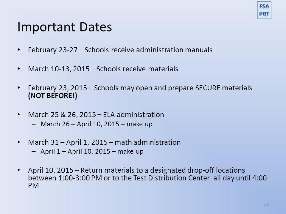 Important Dates February 23-27 – Schools receive administration manuals. March 10-13, 2015 – Schools receive materials.