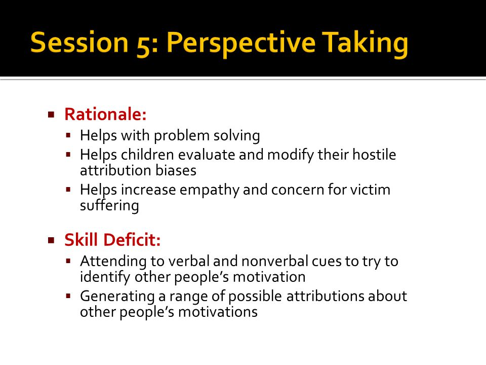 Session 5: Perspective Taking