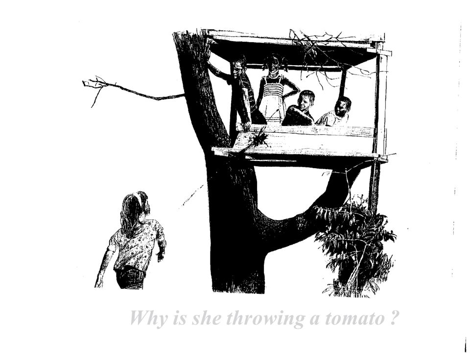 Why is she throwing a tomato