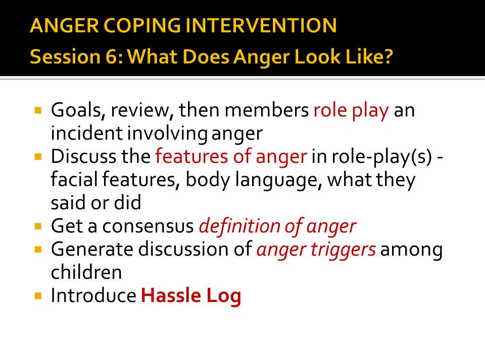 ANGER COPING INTERVENTION Session 6: What Does Anger Look Like