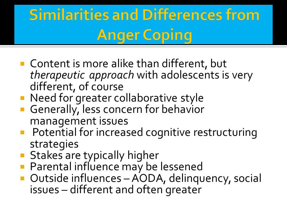 Similarities and Differences from Anger Coping