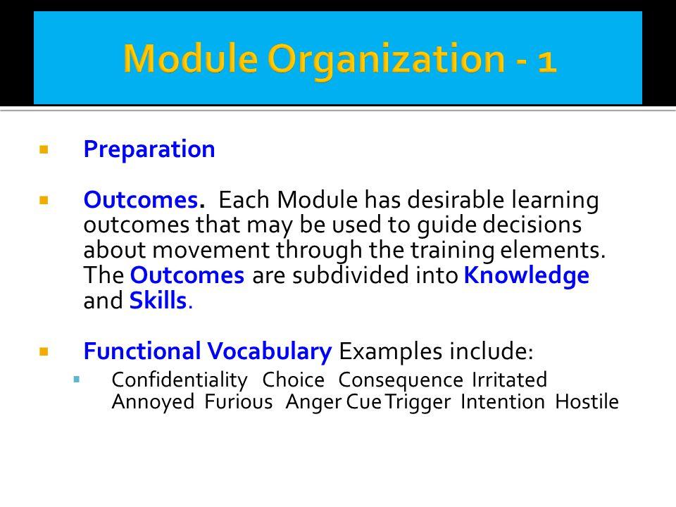 Module Organization - 1 Preparation