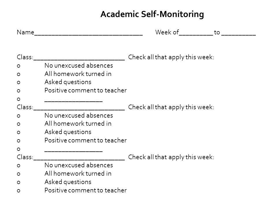 Academic Self-Monitoring