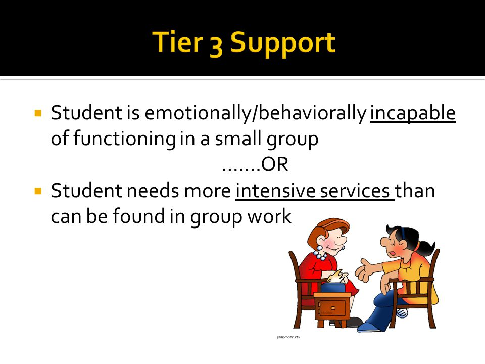 Tier 3 Support Student is emotionally/behaviorally incapable of functioning in a small group. …….OR.