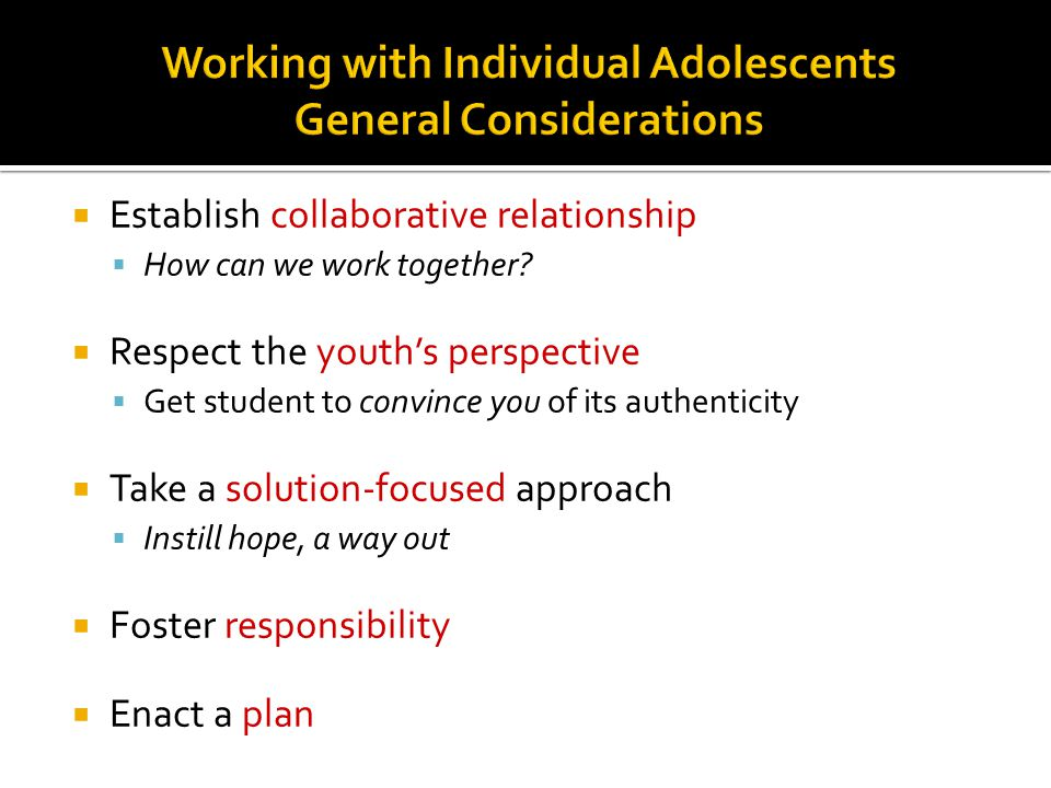 Working with Individual Adolescents General Considerations