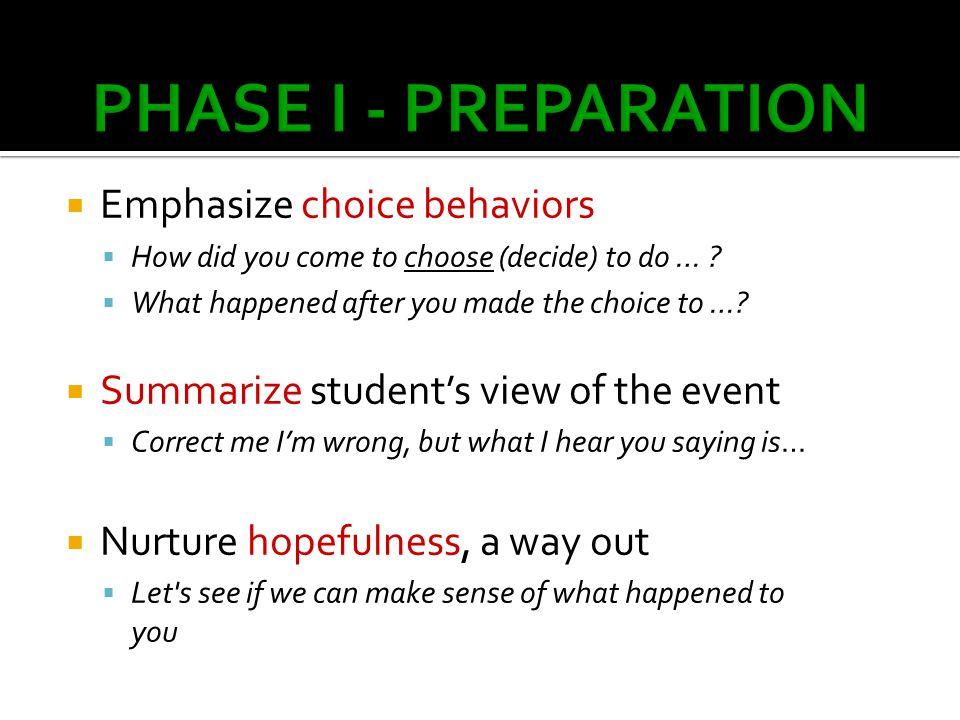PSD PHASE I - PREPARATION