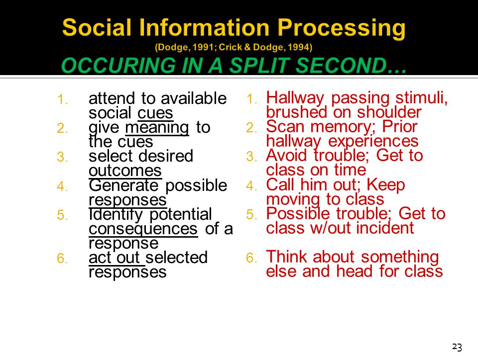 Social Information Processing (Dodge, 1991; Crick & Dodge, 1994) OCCURING IN A SPLIT SECOND…