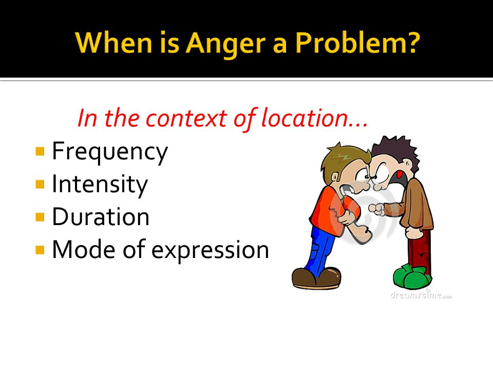 When is Anger a Problem In the context of location… Frequency