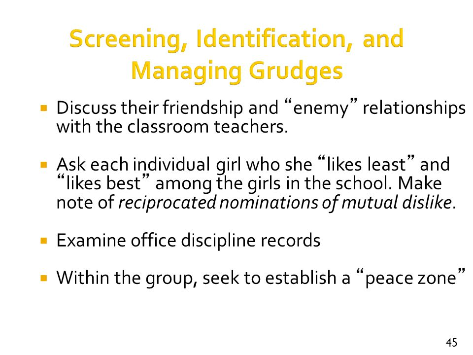 Screening, Identification, and Managing Grudges