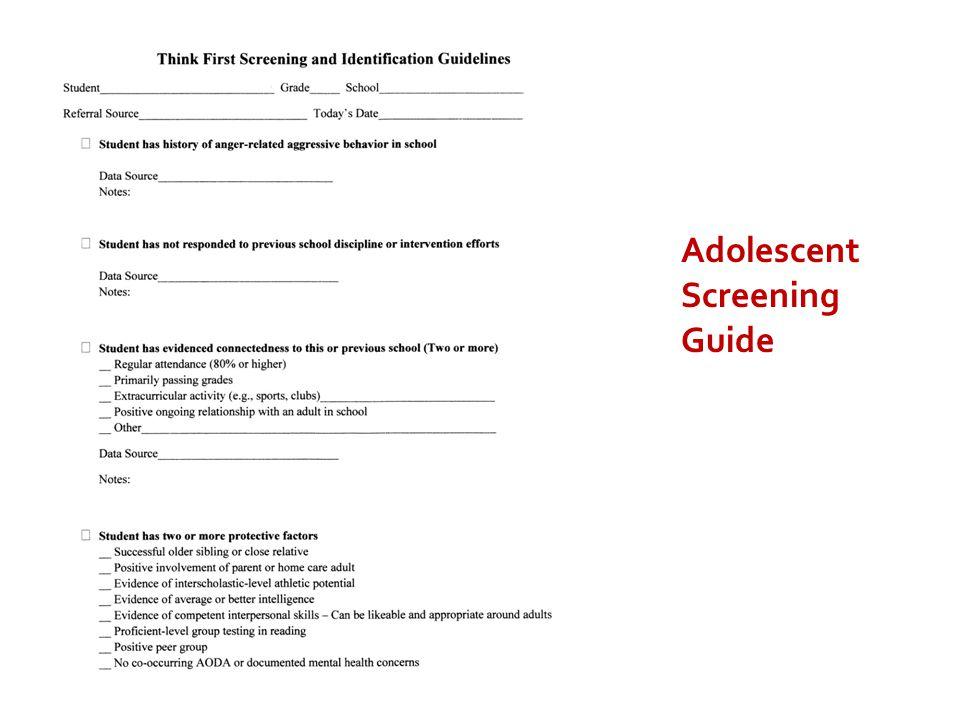 Adolescent Screening Guide