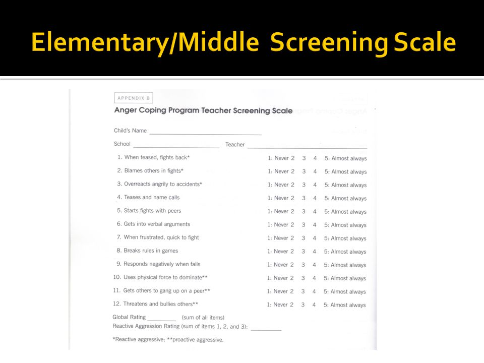 Elementary/Middle Screening Scale