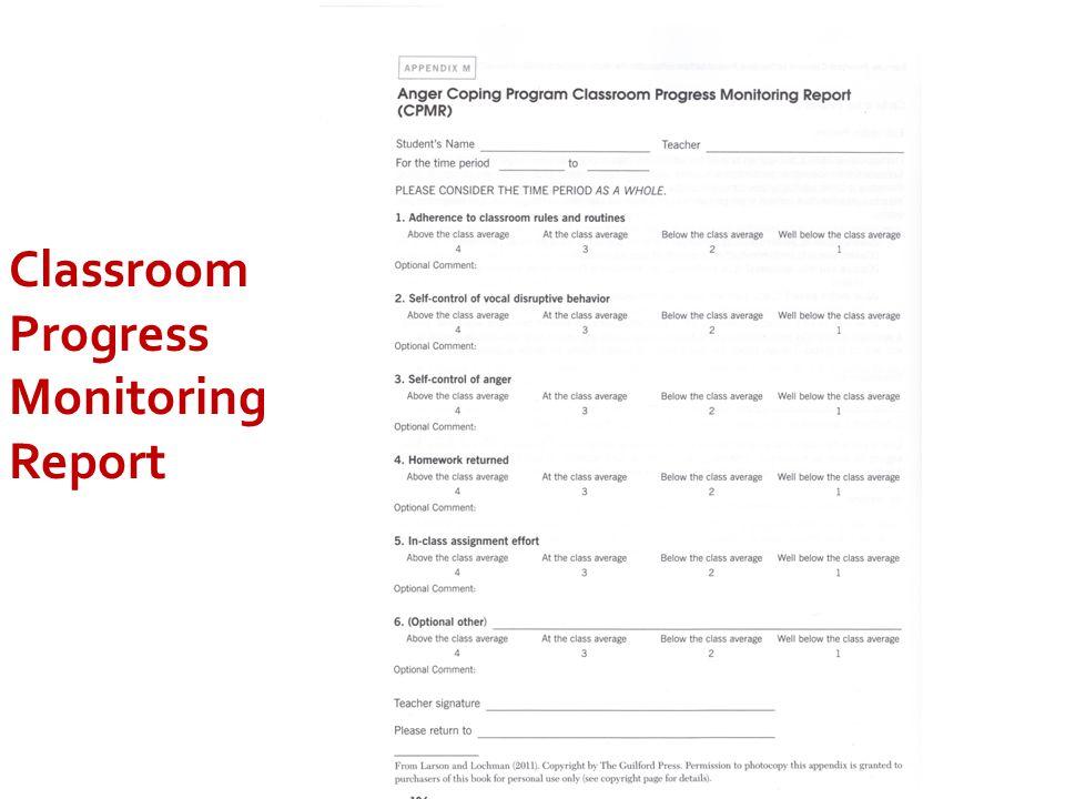 Classroom Progress Monitoring Report