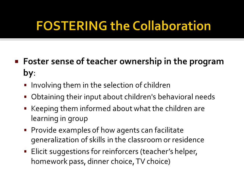 FOSTERING the Collaboration
