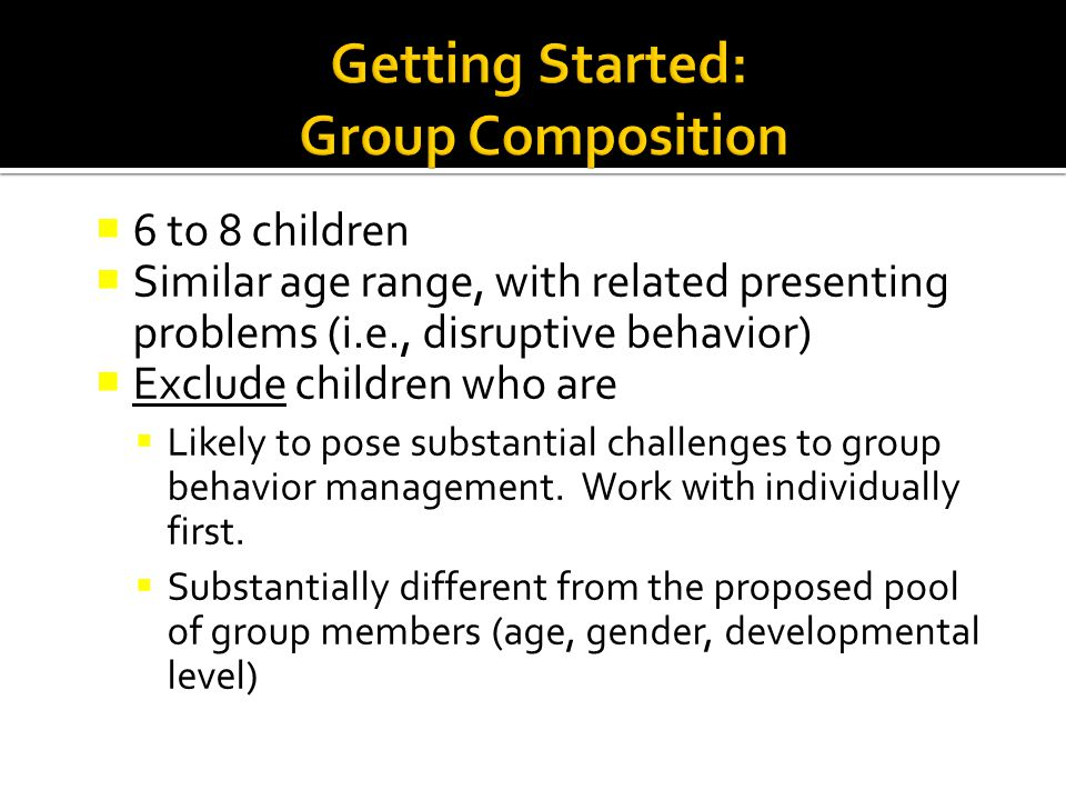 Getting Started: Group Composition