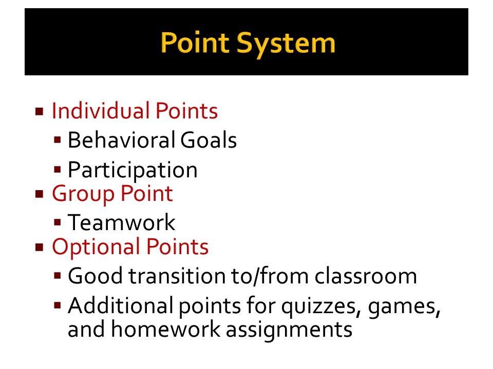 Point System Individual Points Behavioral Goals Participation