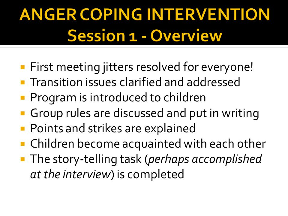 ANGER COPING INTERVENTION Session 1 - Overview