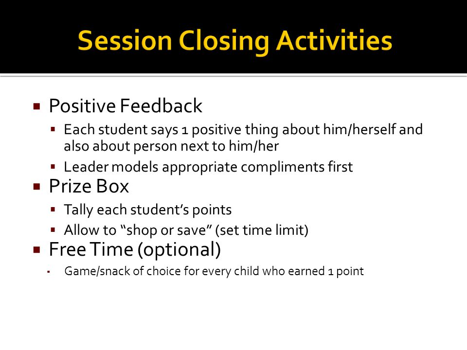 Session Closing Activities