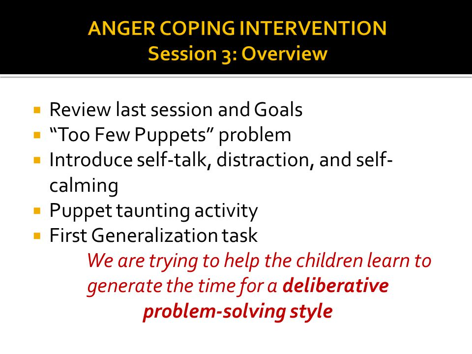 ANGER COPING INTERVENTION Session 3: Overview