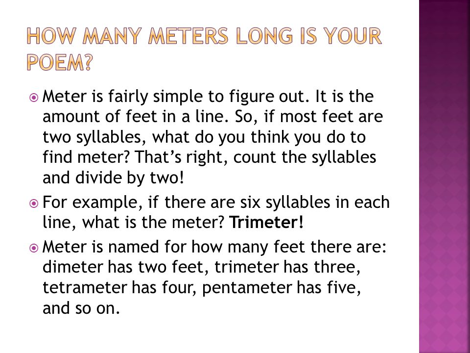 How many meters long is your poem