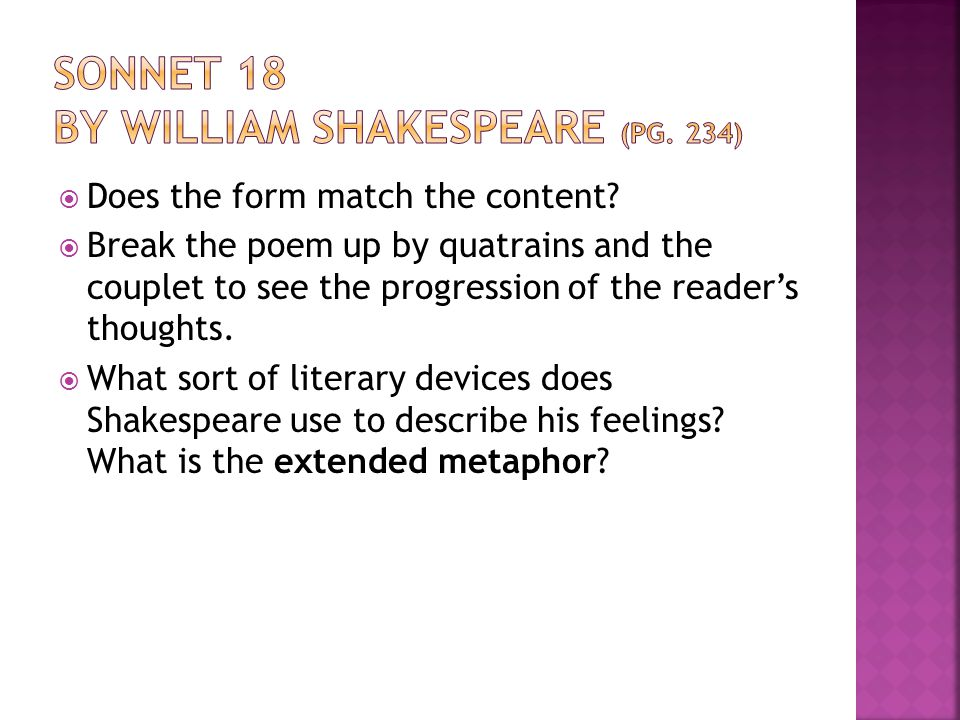 an analysis of sonnet 18 by william shakespeare Shakespeare sonnet 18: explanation & summary: sonnet 18 is regarded as one of the masterpieces of william shakespeare it is a sonnet, which has received massive appreciation from.