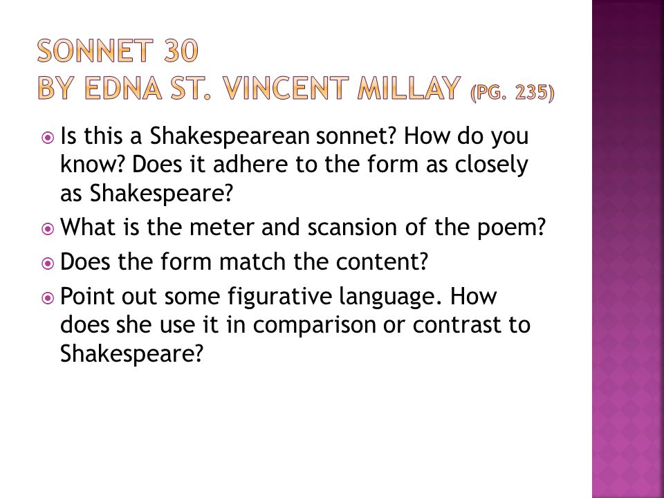 Sonnet 30 by Edna St. Vincent Millay (pg. 235)