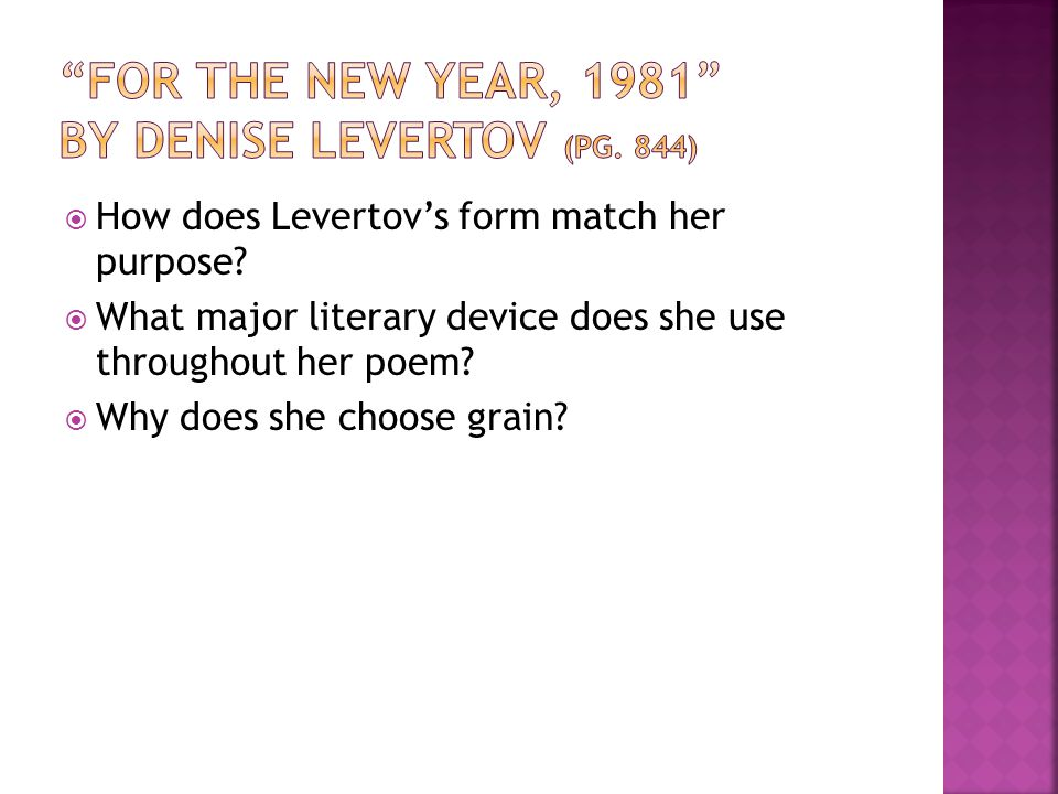 For the New Year, 1981 by Denise Levertov (pg. 844)