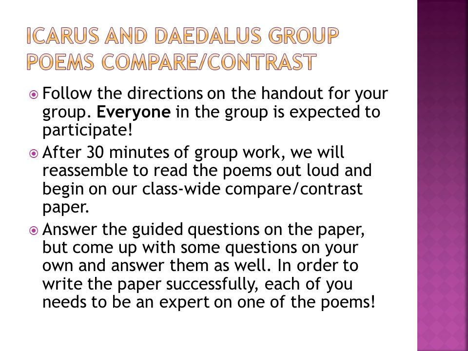 Icarus and Daedalus Group Poems Compare/COntrast