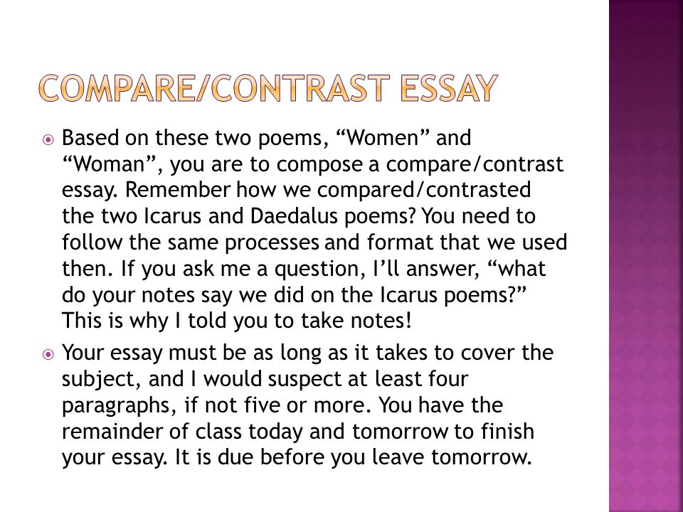 comparative essays of poems Poem comparison – essay sample the poem is constructed of four stanzas, each one with four stressed syllables in iambic meter for instance.