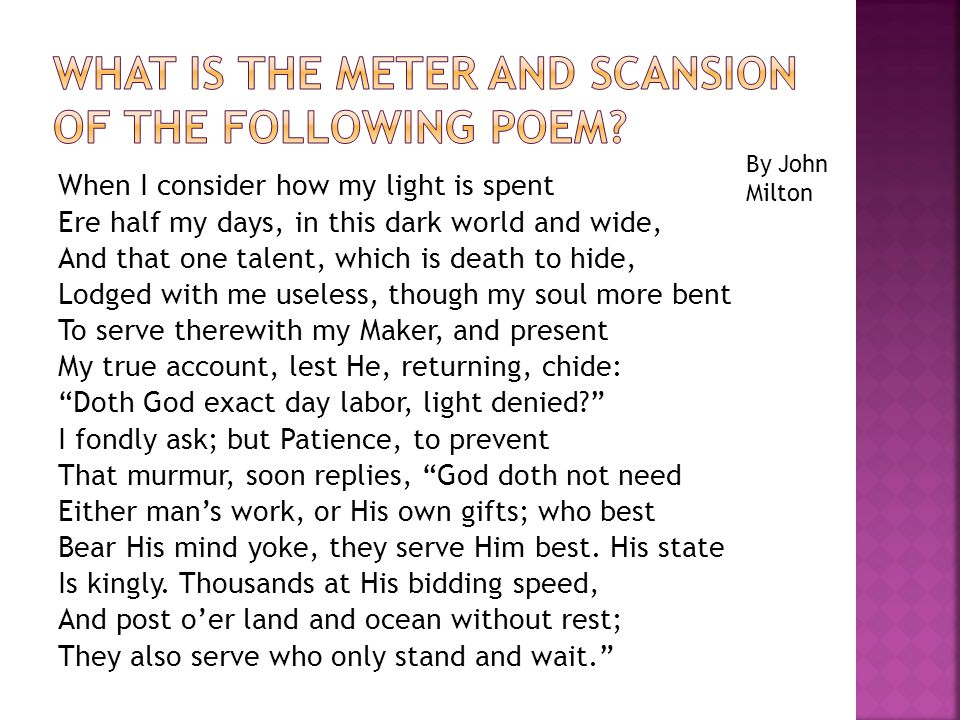 What is the meter and scansion of the following poem