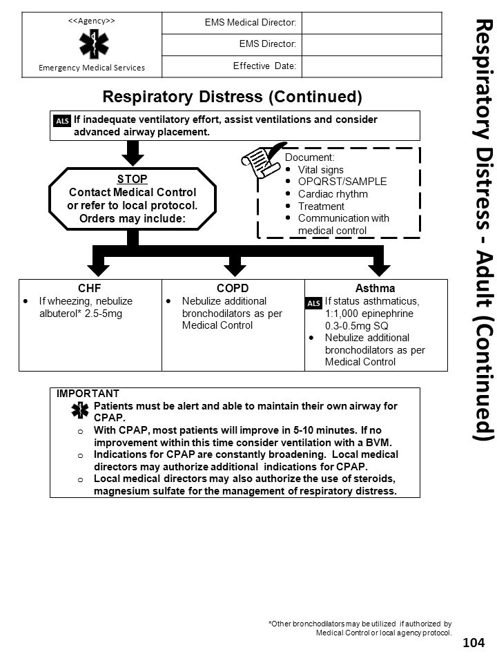 Respiratory Distress - Adult (Continued)