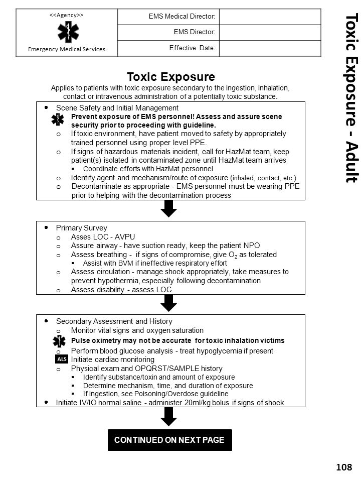 Toxic Exposure - Adult Toxic Exposure Continued on next Page